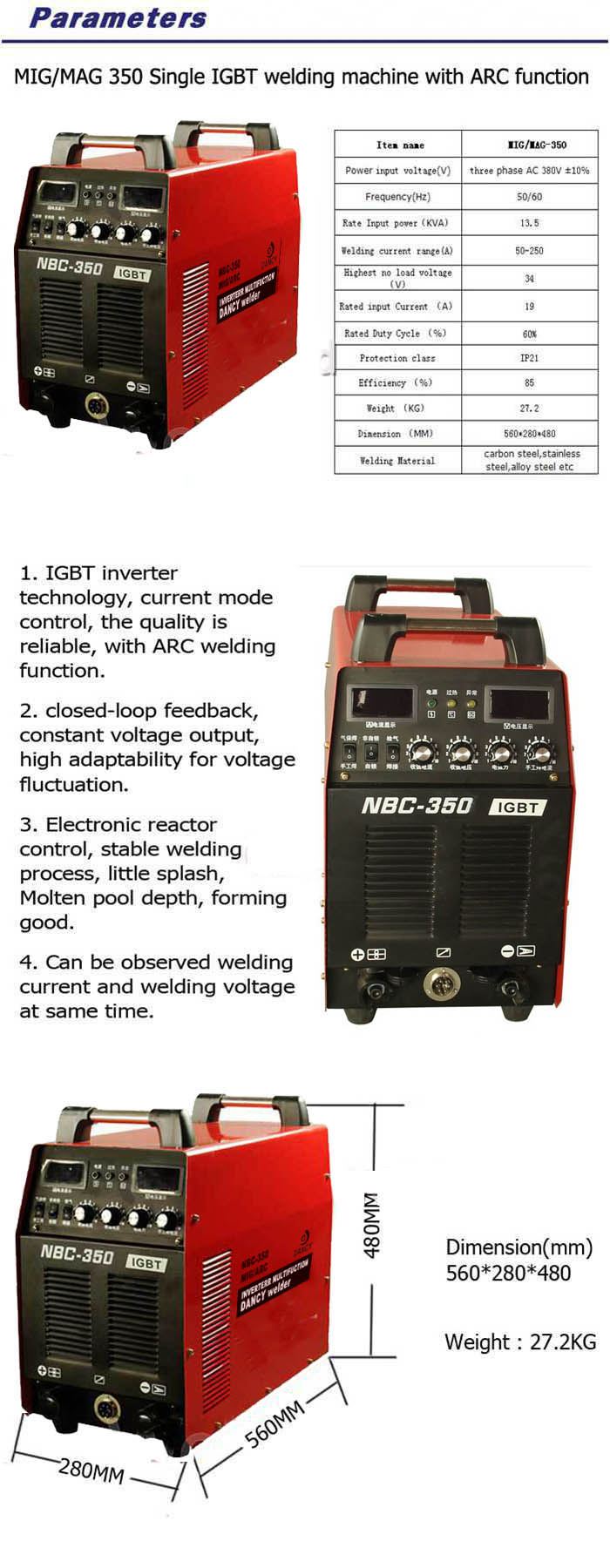 NBC 350 mig/mag/arc welding machine specification